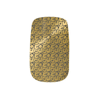 Gold  and Black Glamor Pattern Minx Nails Nails Stickers