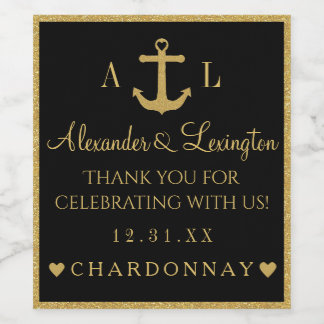 Gold and Black Glitter Anchor Monogram Wedding Wine Label