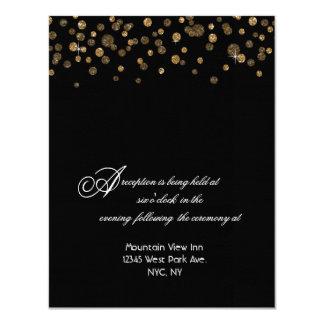 Gold and Black Glitter Confetti Reception 11 Cm X 14 Cm Invitation Card