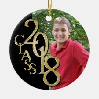 Gold and Black Graduation Class of 2018 Photo Christmas Ornament