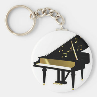 Gold and Black Grand Piano Music Notes Basic Round Button Key Ring