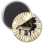 Gold and Black Grand Piano Music Notes 6 Cm Round Magnet