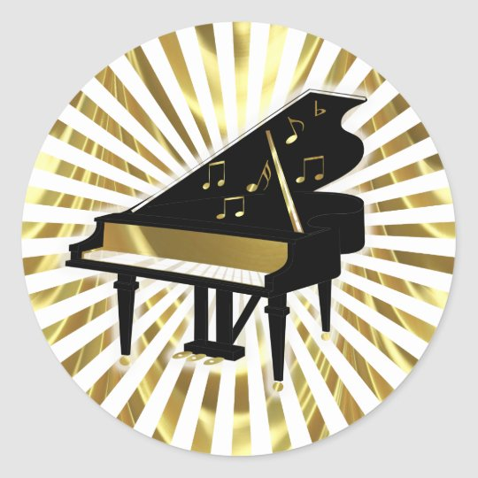 Gold and Black Grand Piano Music Notes Round