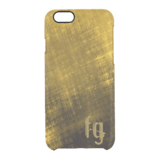 gold and black grungy tweed clear iPhone 6/6S case