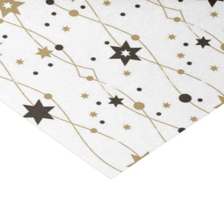Gold and Black Holiday Stars Tissue Paper