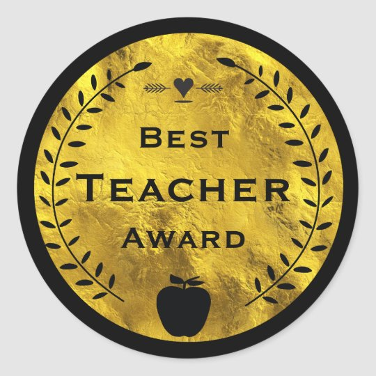 Gold and Black Laurel Wreath Best Teacher Award