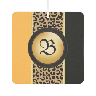 Gold and Black Leopard Animal Print | Monogram Car Air Freshener