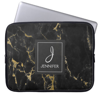 Gold and Black Marble Elegant Monogram Laptop Sleeve