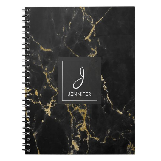 Gold and Black Marble Monogram Notebook