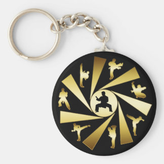 GOLD AND BLACK MARTIAL ARTS BASIC ROUND BUTTON KEY RING