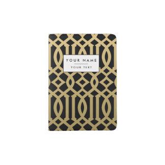 Gold and Black Modern Trellis Pattern Passport Holder