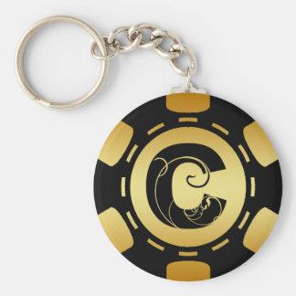 GOLD AND BLACK MONOGRAM LETTER C POKER CHIP KEY RING