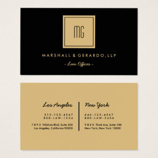Gold And Black Monogram Professional Offices Business Card