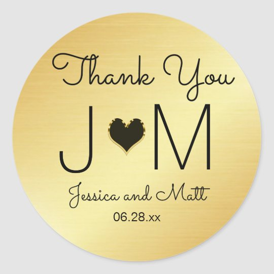 Gold and Black Monogram Thank You Wedding Sticker