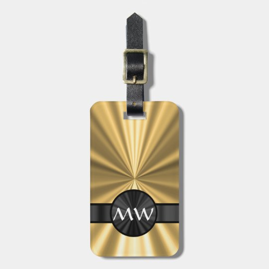 Gold and black monogrammed luggage tag