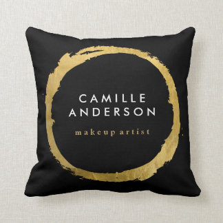 Gold and Black MUA and Fashion Throw Pillow Cushion