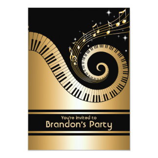 Gold and black Music Notes Invitations