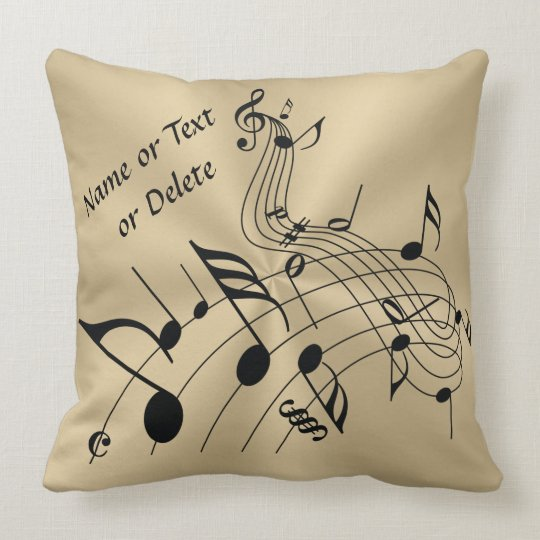 Gold and Black Music Notes Pillow with Your