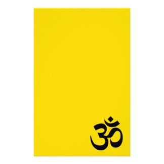 Gold and Black Om Symbol Stationery Paper