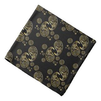 Gold and Black Paisley Design Bandannas