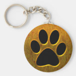 GOLD AND BLACK PAW PRINT BASIC ROUND BUTTON KEY RING