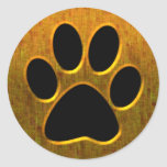 GOLD AND BLACK PAW PRINT CLASSIC ROUND STICKER