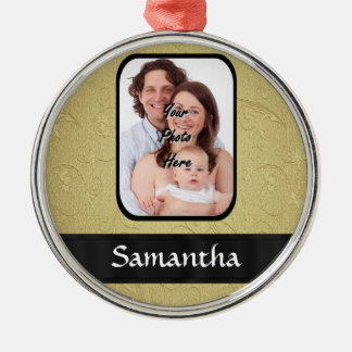 Gold and black photo template christmas ornament