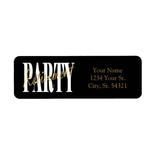 Gold and Black Retirement Address Labels