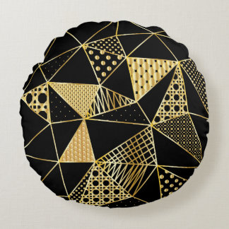 gold and black round pillow