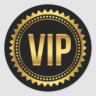 Gold and Black Round Spikes VIP Party Pass Round Sticker