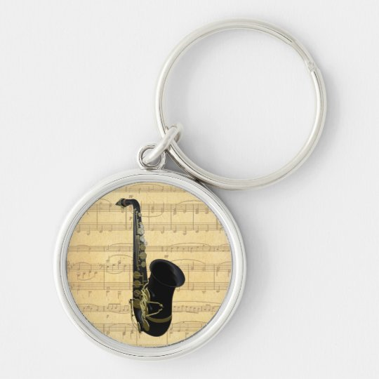 Gold and Black Saxophone Luggage or Laptop Tag Silver-Colored Round Key Ring