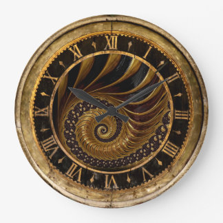 Gold and Black Spiral Clock