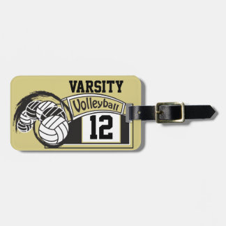 Gold and Black Sporty Volleyball Luggage Tag
