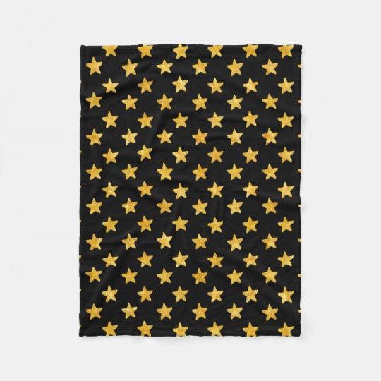 Gold and Black Stars Pattern Fleece Blanket