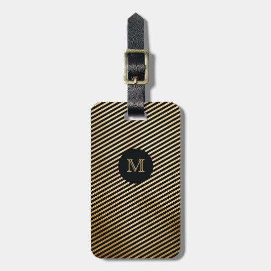 Gold and Black StripedLuggage Tag
