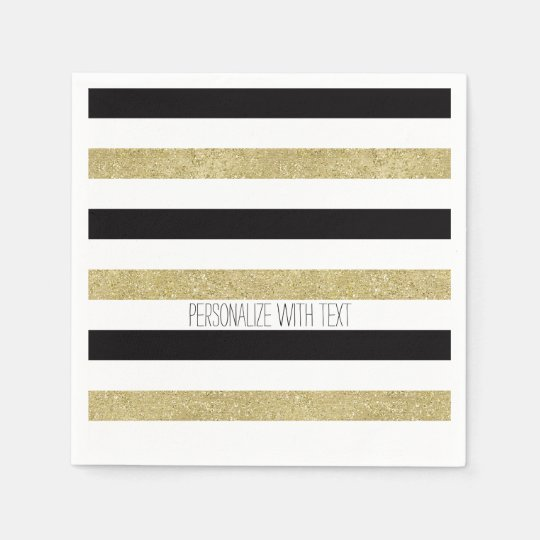 Gold and Black Stripes Paper Napkins