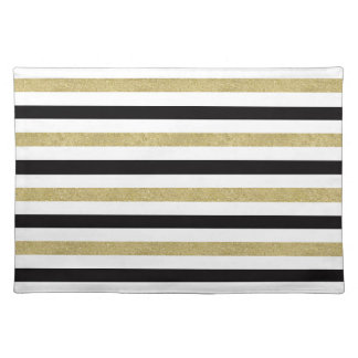 Gold and Black Stripes Placemat