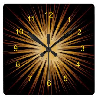 Gold and Black Sunburst Design Wall Clock
