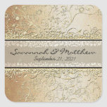 Gold and Black Swirl Square Wedding Seal