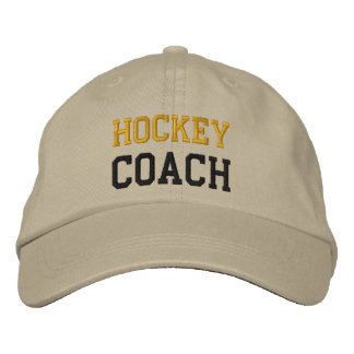 Gold and Black Text Hockey Coach Hat Embroidered Hats