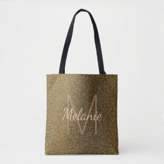 Gold and Black Textured Monogram Wedding Tote Bag