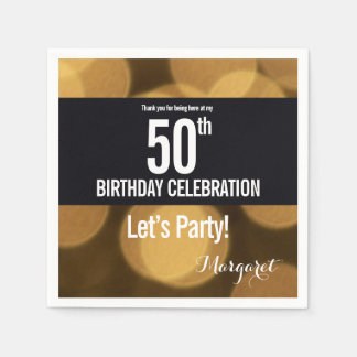 Gold and black theme, 50th birthday disposable napkin