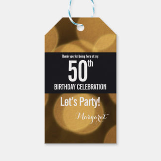 Gold and black theme, 50th birthday gift tags