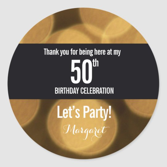 Gold and black theme, 50th birthday round sticker