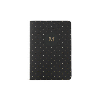 Gold and black Tiny Polka Dot Passport Holder