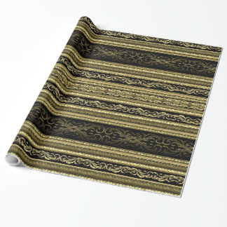 Gold And Black Vintage Lace Stripes Pattern Wrapping Paper