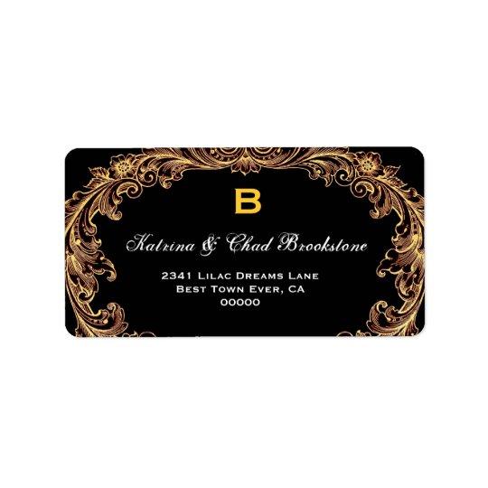 Gold and Black Vintage Wedding Monogram G461 Label
