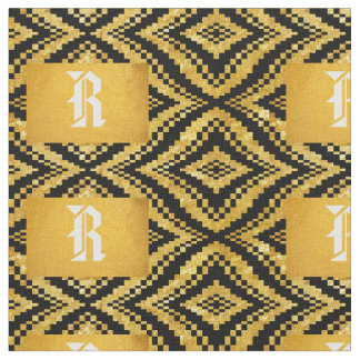 Gold And Black Waves Fabric Monogram