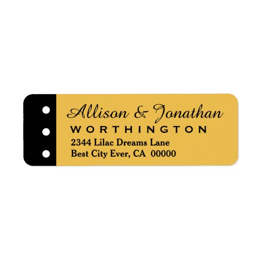 Gold and Black with Polka Dots Wedding V01A Return Address Label