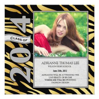 Gold and Black Zebra Graduation 2014 Announcement